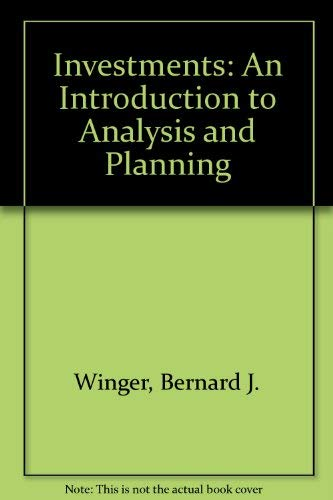 9780675208093: Investments: An Introduction to Analysis and Planning