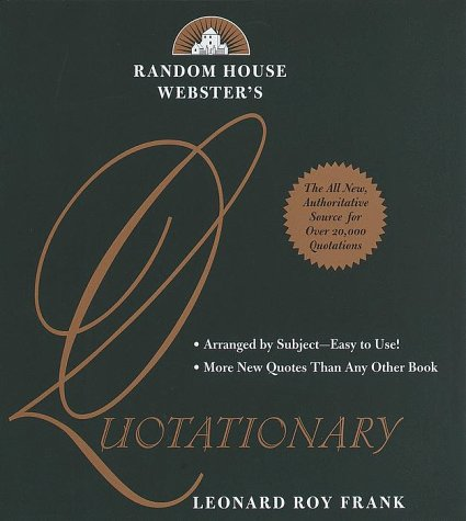 9780679448501: Random House Webster's Quotationary