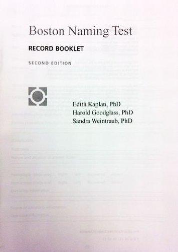 9780683305623: Boston Diagnostic Aphasia Examination: Boston Naming Test