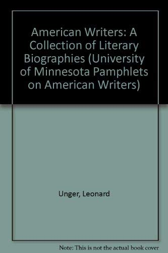 American Writers Volume 1 (University of Minnesota Pamphlets on American Writers) (0684136627) by A Walton Litz
