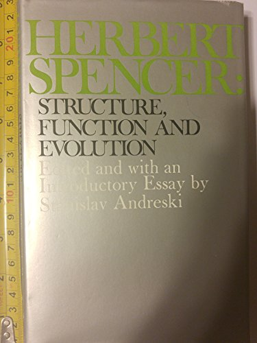 9780684139456: Herbert Spencer: Structure, function, and evolution