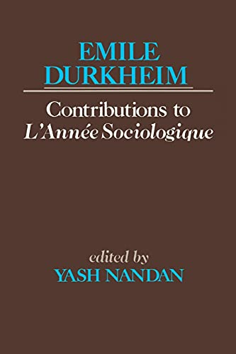 9780684863900: Contributions to L'Anne Sociologique