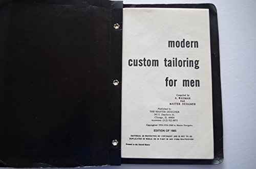 9780686212157: Modern Custom Tailoring for Men