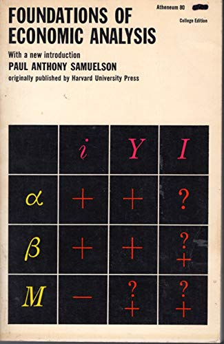 9780689701771: Foundations of Economic Analysis