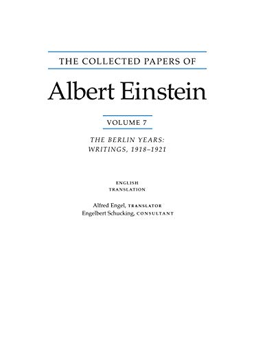 9780691057187: The Collected Papers of Albert Einstein: Volume 7: The Berlin Years: Writings, 1918-1921. (English translation of selected texts).