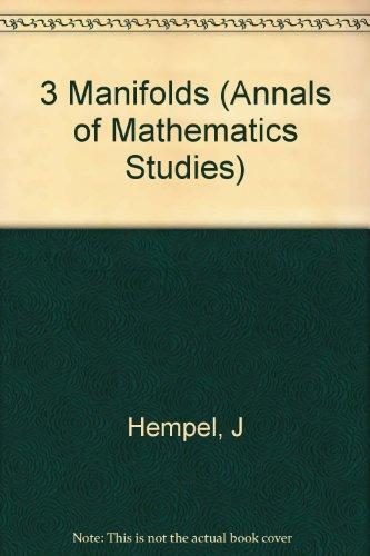 9780691081786: 3 Manifolds. (AM-86), Volume 86 (Annals of Mathematics Studies)