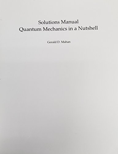 9780691144160: Solutions Manual to Quantum Mechanics in a Nutshell