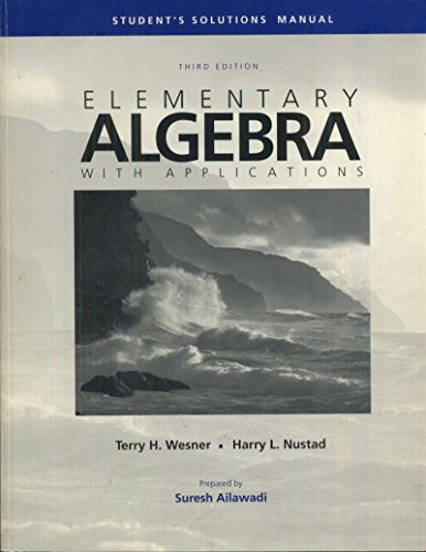 9780697105943: Elementary Algebra With Applications: Student's Solutions Manual, 3rd Edition