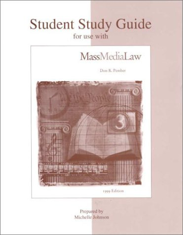 9780697353726: Student Study Guide To Accompany Mass Media Law