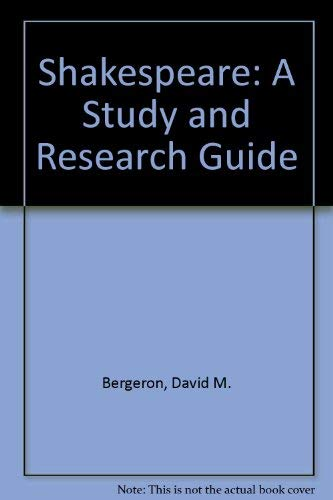 9780700606924: Shakespeare: A Study and Research Guide