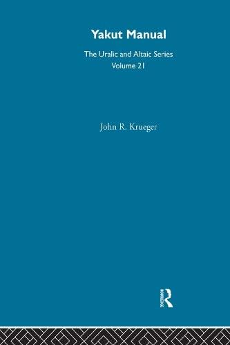 9780700708215: Yakut Manual