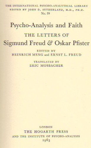 9780701201074: Psychoanalysis and Faith: The Letters of Sigmund Freud and Oskar Pfister (International Psycho-Analysis Library)