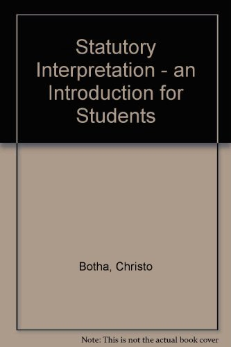 9780702145339: Statutory Interpretation - an Introduction for Students