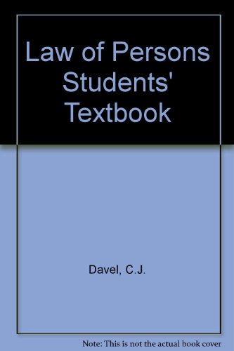 9780702148958: Law of Persons Students' Textbook