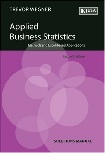 Applied Business Statistics Solutions Manual: Methods and: Wegner, Trevor