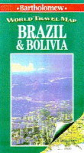 World Travel Map: Brazil & Bolivia: Bartholomew