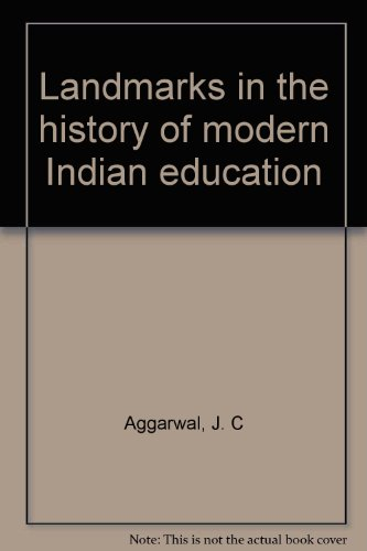 9780706967067: Landmarks in the history of modern Indian education