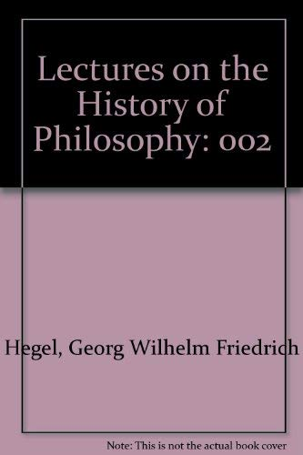 9780710015150: Lectures on the History of Philosophy, Vol. 2