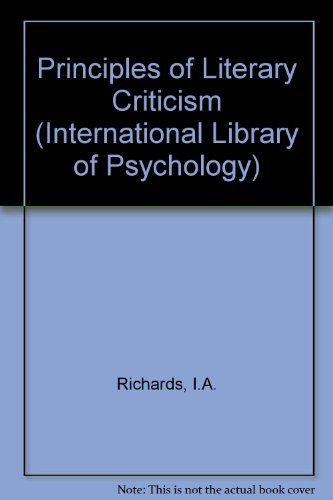 9780710030290: Principles of Literary Criticism (International Library of Psychology)
