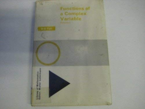 9780710068507: Functions of a Complex Variable: v. 1