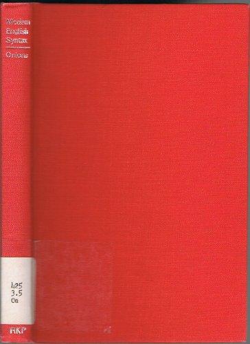 Modern English syntax: Onions, Charles Talbut