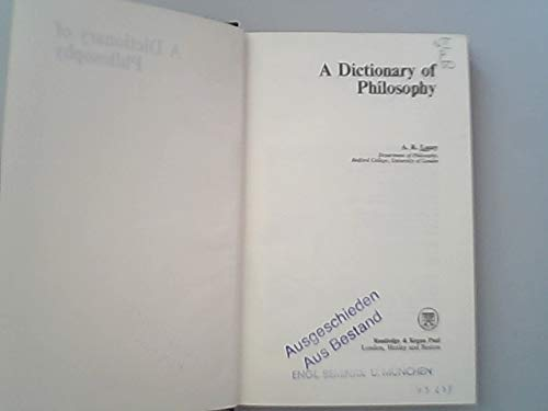 9780710083616: A dictionary of philosophy