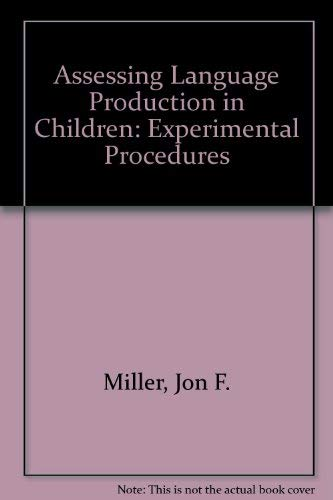 9780713163391: Assessing Language Production in Children: Experimental Procedures