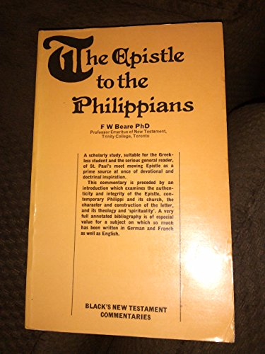 9780713609936: Epistle to the Philippians (Black's New Testament Commentaries)