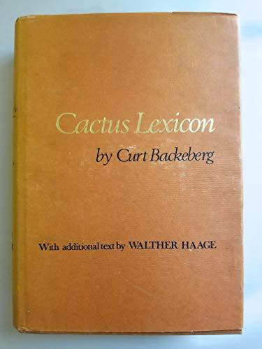 Cactus Lexicon: Backeberg, Curt