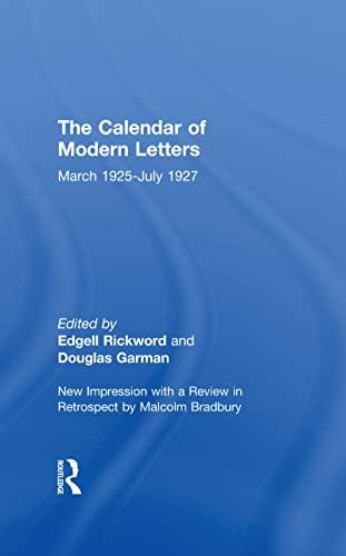 Calendar Modern Letts 4v Cb: Cal of Modern Letters: Rickword,Edgell