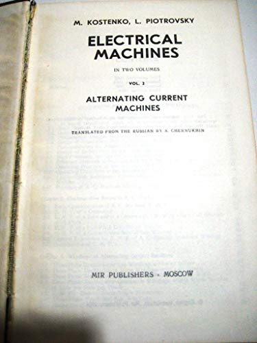 9780714700144: Electrical Machines: v. 2