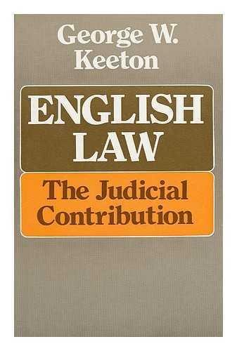 9780715364109: English Law: The Judicial Contribution