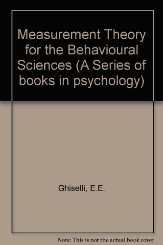 9780716710486: Measurement Theory for the Behavioral Sciences (A Series of Books in Psychology)