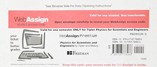 9780716778486: One Semester Webassign Access Code for Tipler Physics for Scientists and Engineers