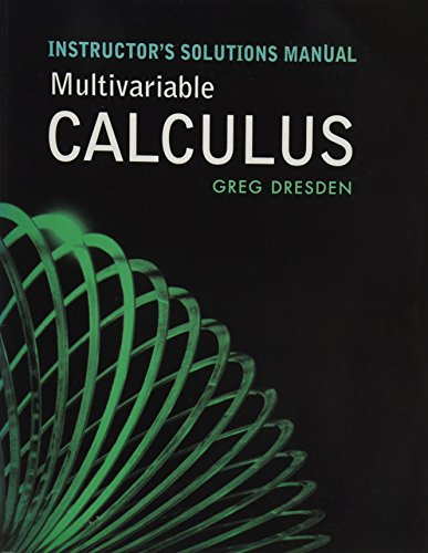 9780716795926: Instructor's Solutions Manual Multivariable Calculus by Greg Dresden (2008) Hardcover