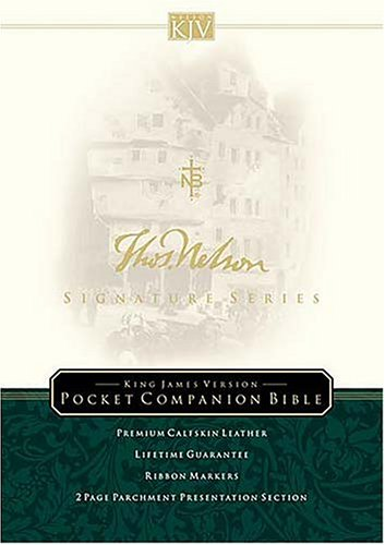 9780718010980: Holy Bible: King James Version, Black, Calfskin Leather, Pocket Companion Bible, Signatures Series Edition