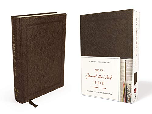 NKJV, Journal the Word Bible, Bonded Leather, Brown, Red Letter Edition: Reflect, Journal, or ...