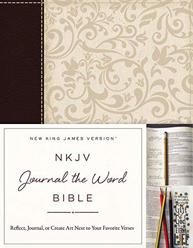 NKJV, Journal the Word Bible, Imitation Leather, Brown/Cream, Red Letter Edition: Reflect, ...
