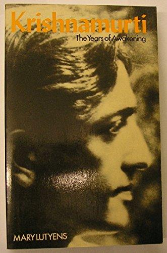 9780719532290: Krishnamurti: The Years of Awakening