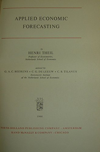 9780720433043: Applied Economic Forecasting (Study in Mathematics & Managerial Economics)