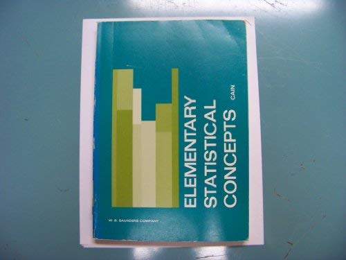 9780721622385: Elementary Statistical Concepts