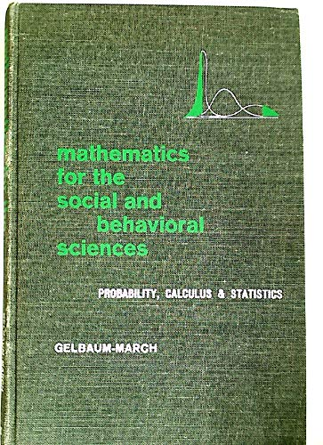 9780721640808: Mathematics for the Social and Behavioral Sciences: Probability, Calculus and Statistics