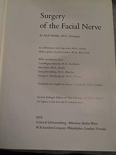 9780721663180: Surgery of the Facial Nerve (English and German Edition)