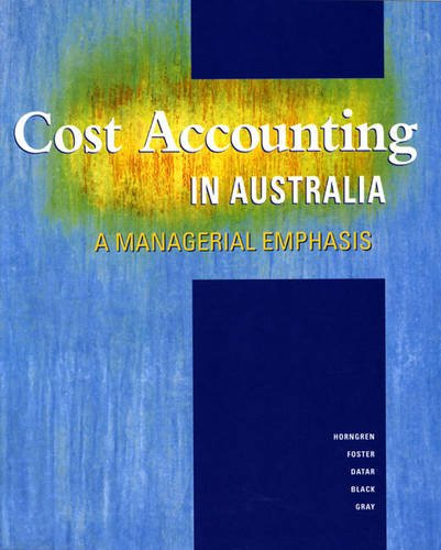 9780724802173: Cost Accounting in Australia: A Managerial Emphasis