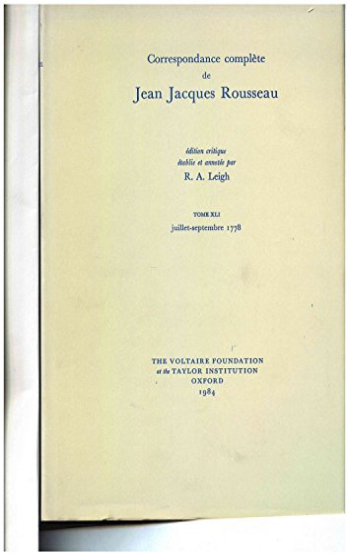 Correspondance Complete De Rousseau: T.41: 1778, Lettres 7181-7311 (Hardback): Jean-Jacques ...