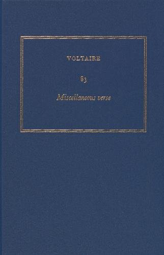 9780729411356: Complete Works of Voltaire: Vol. 83: Miscellaneous Verse (French Edition)