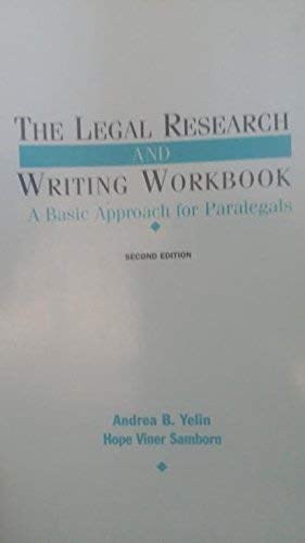 9780735502970: Legal Research & Writing Workbook: A Basic Approach for Paralegals
