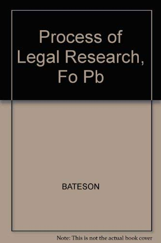 9780735506336: The Process of Legal Research