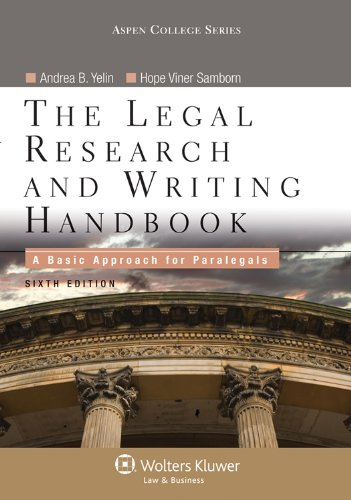 9780735507890: The Legal Research and Writing Handbook: A Basic Approach for Paralegals (Apen College Series)