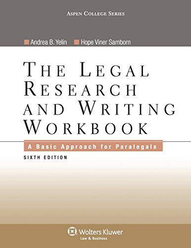 9780735507920: Legal Research and Writing Workbook: A Basic Approach for Paralegals